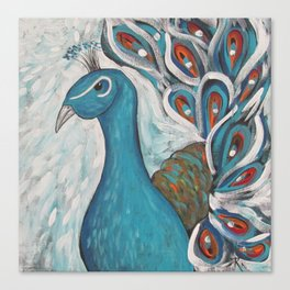 Blue Peacock with Blue Canvas Print
