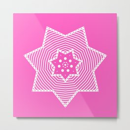 Pink and White Star Metal Print