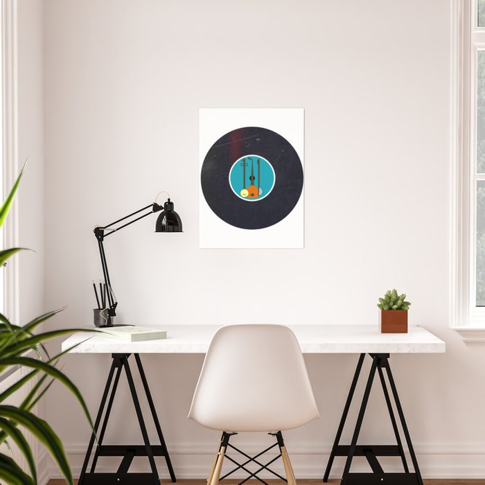 Vinyl Record Art Design Mid Century Modern Music Instruments Poster By Oldurbanfarmhouse