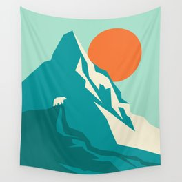 As the sun rises over the peak Wall Tapestry