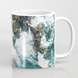 Rocky Coast Print, Aerial Print, Aerial Coastal Art, Ocean Wall Art, Ocean Waves, Coastal Decor Coffee Mug