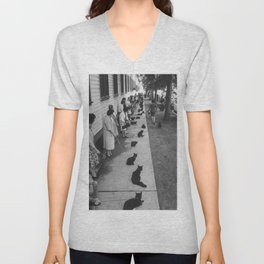 Black Cats Auditioning in Hollywood black and white photograph Unisex V-Neck