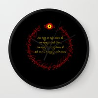 lord of the ring Wall Clocks featuring The Lord Of The Rings - The One Ring by Lunil