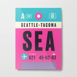 Baggage Tag A - SEA Seattle Tacoma USA Metal Print