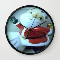 santa Wall Clocks featuring Santa by Vintage  Cuteness