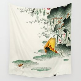Frog in the swamp  - Vintage Japanese Woodblock Print Art Wall Tapestry