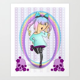 Girl Pastel Goth Art Print