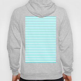 Horizontal Lines (Aqua Cyan/White) Hoody