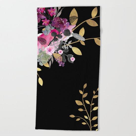 FLOWERS & GOLD  Beach Towel