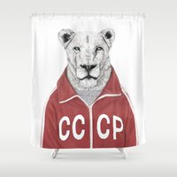 soviet Shower Curtains featuring Soviet lion by Balazs Solti