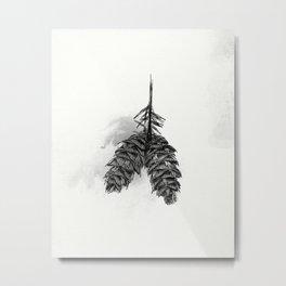 Pine Cone Ink Study Metal Print
