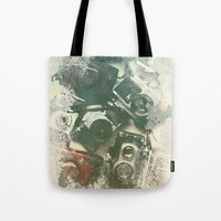 cameras Tote Bags featuring Old Cameras by Nechifor Ionut