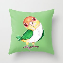 White bellied caique Throw Pillow