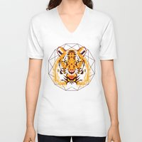 thundercats V-neck T-shirts featuring Geometric Tiger by chobopop