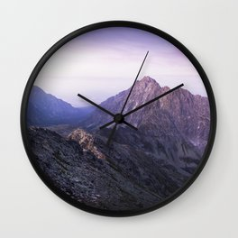 MISTY PURPLE MOUNTAINS Wall Clock