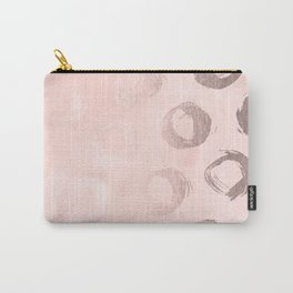 Rose Gold Pastel Pink Dot Circles Carry-All Pouch