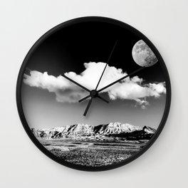 Black Desert Sky & Moon // Red Rock Canyon Las Vegas Mojave Lune Celestial Mountain Range Wall Clock