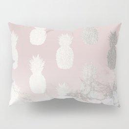 Golden Pineapple Madness on Marble Pillow Sham