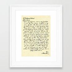 Alexander Hamilton Letter to John Laurens Framed Art Print