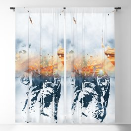 French bulldog and landscape abstract design Blackout Curtain