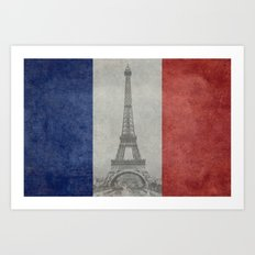 Flag of France with Eiffel Tower Art Print