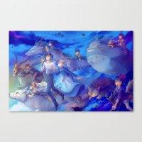 ghibli Canvas Prints featuring Ghibli sky by hasu