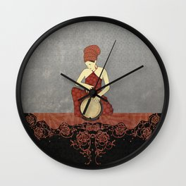 Rastafari Woman on Bongo Drum Wall Clock