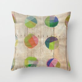 Circles on Wood Throw Pillow