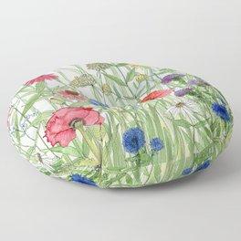 Watercolor of Garden Flower Medley Floor Pillow