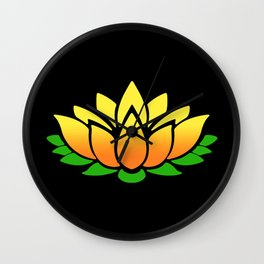 Yellow Lotus Wall Clock