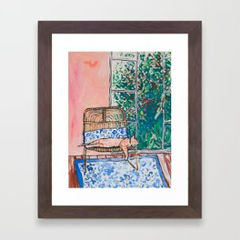 Napping Ginger Cat in Pink Jungle Garden Room Framed Art Print