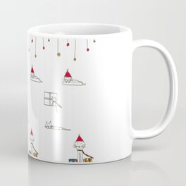 Cats eating and sleeping on Christmas Eve Coffee Mug