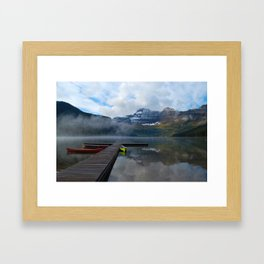 Canoes at Waterton Parks Framed Art Print