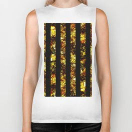 Golden Stripes - Abstract, black and gold, metallic, textured, stripy pattern Biker Tank