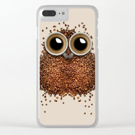 Coffee beans and cups forming owl Clear iPhone Case