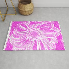 White Flower On Hot Pink Crayon Rug