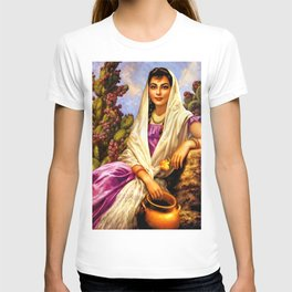 Jesus Helguera Painting of a Calendar Girl with Cream Shawl T-shirt