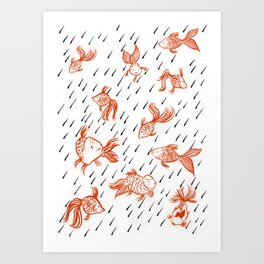 Rainy Fish Art Print