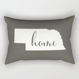 Nebraska is Home - White on Charcoal Rectangular Pillow