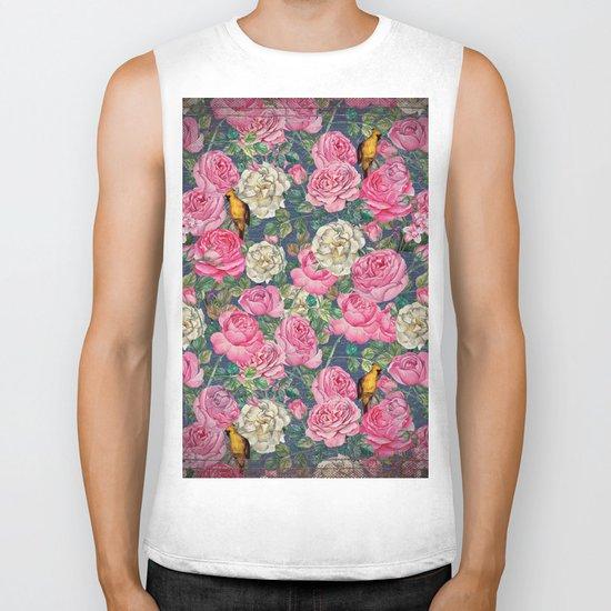 Vintage grunge Floral Rose and Birds Pattern Biker Tank
