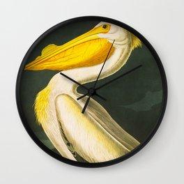 White Pelican Vintage Floral Botanical Animal Bird Art Wall Clock