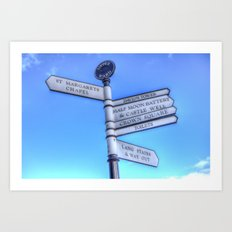 Edinburgh Castle Directions Post Art Print