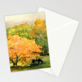 Autumn Landscape Horses Under Maples Stationery Cards