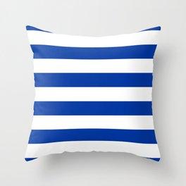 Dark Princess Blue and White Wide Horizontal Cabana Tent Stripe Throw Pillow