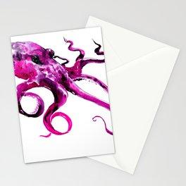 Pink Purple Octopus, sea world, aquatic, beach house octopus artwork Stationery Cards