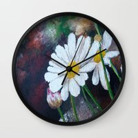 daisies Wall Clocks featuring Daisies  by ANoelleJay