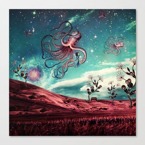 Sunrise Flight on Purple Planet Canvas Print