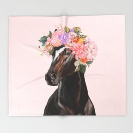 Horse with Flowers Crown in Pink Throw Blanket