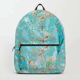 Feather peacock peach mint #8 Backpack