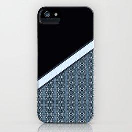 Half Dark and Half Abstract Steel Grey Geometric Striped Pattern iPhone Case